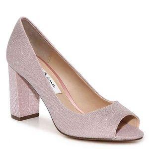 Nina Farlyn Light Pink Metallic Peeptoe Pumps SZ 6
